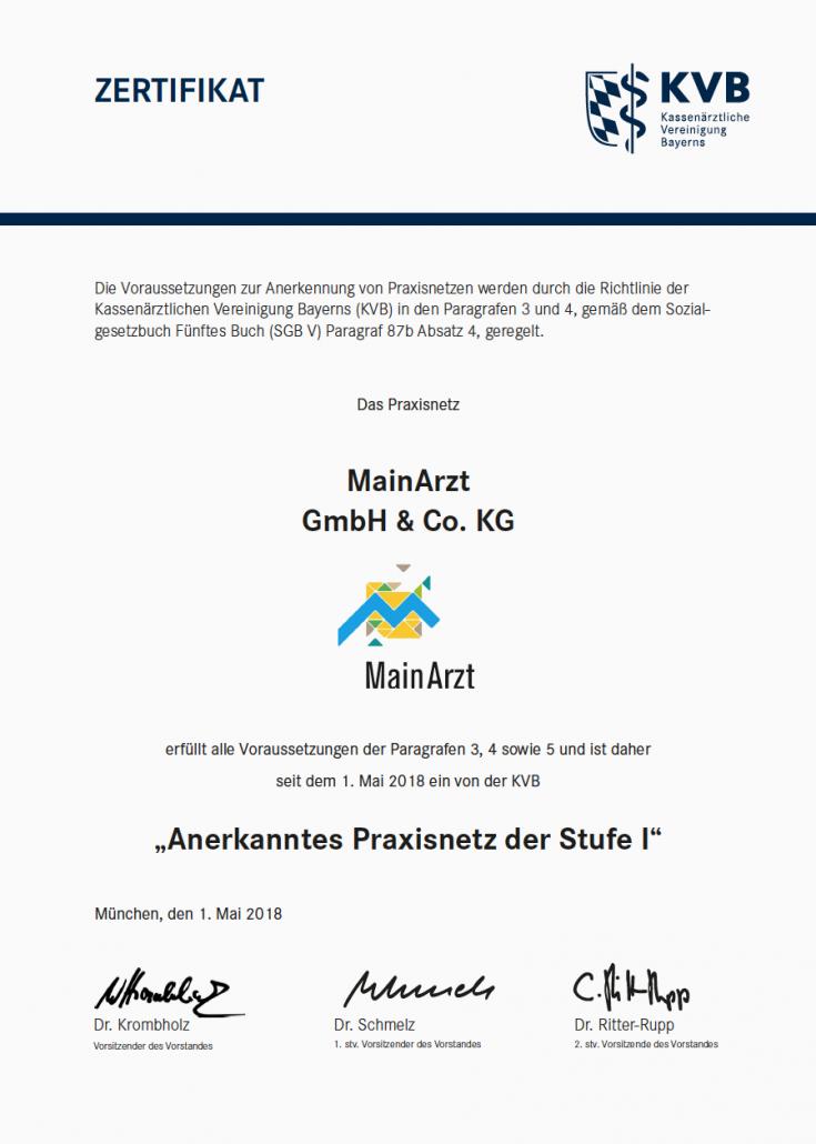 """""""Anerkanntes Praxisnetz der Stufe 1"""" bei der KVB"""